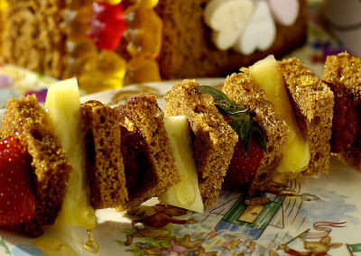 Fruit and honey cake skewers