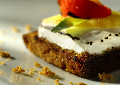 Hot goat cheese on honey cake