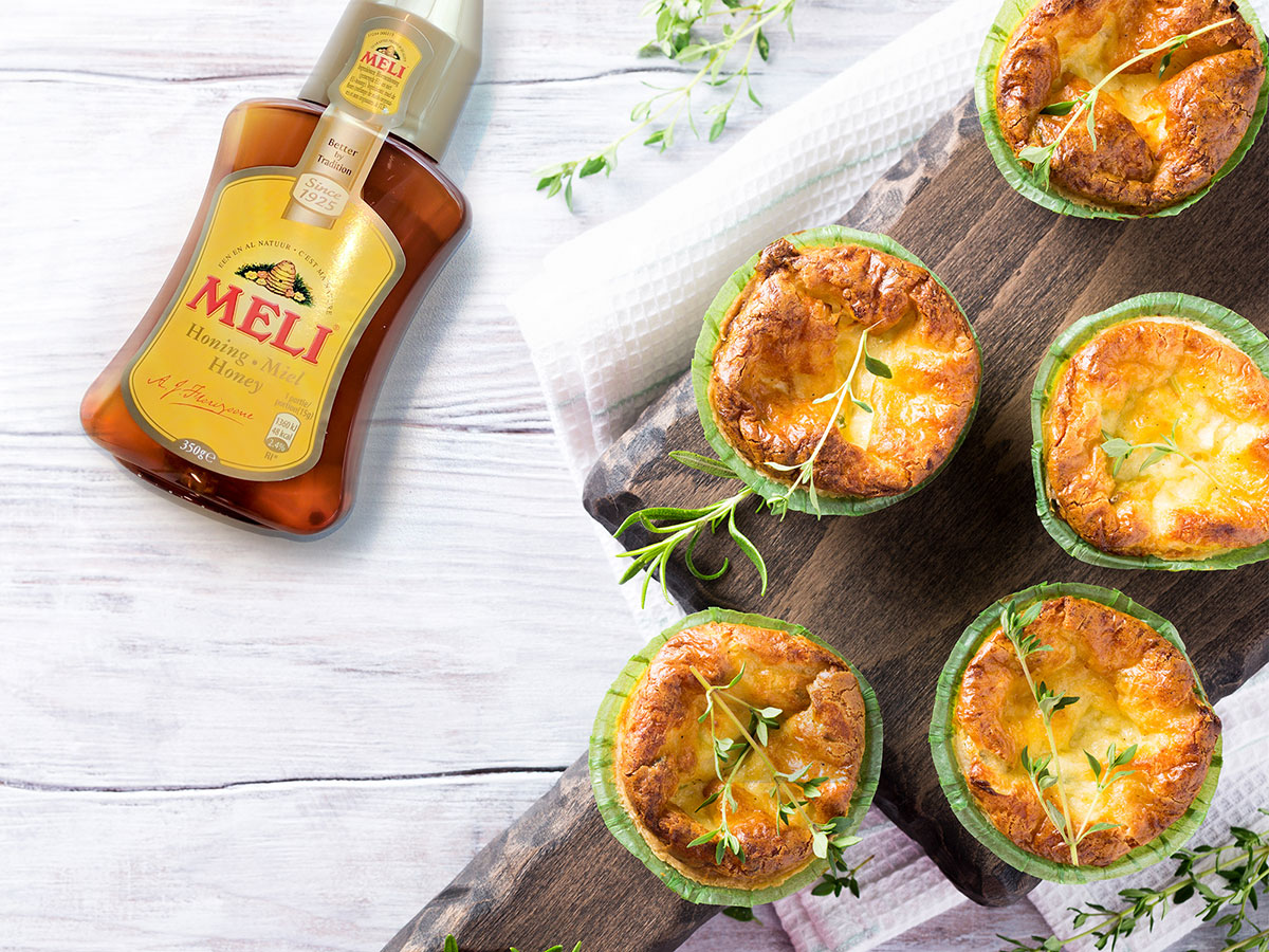 Mini quiches met geitenkaas, walnoten en spek