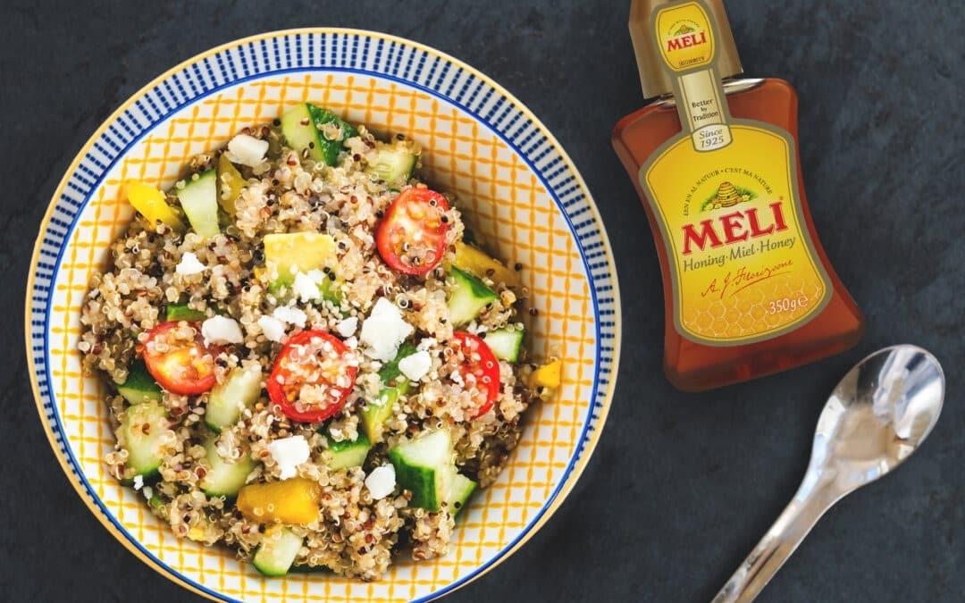 Quinoa au fromage de chèvre, légumes et vinaigrette au miel
