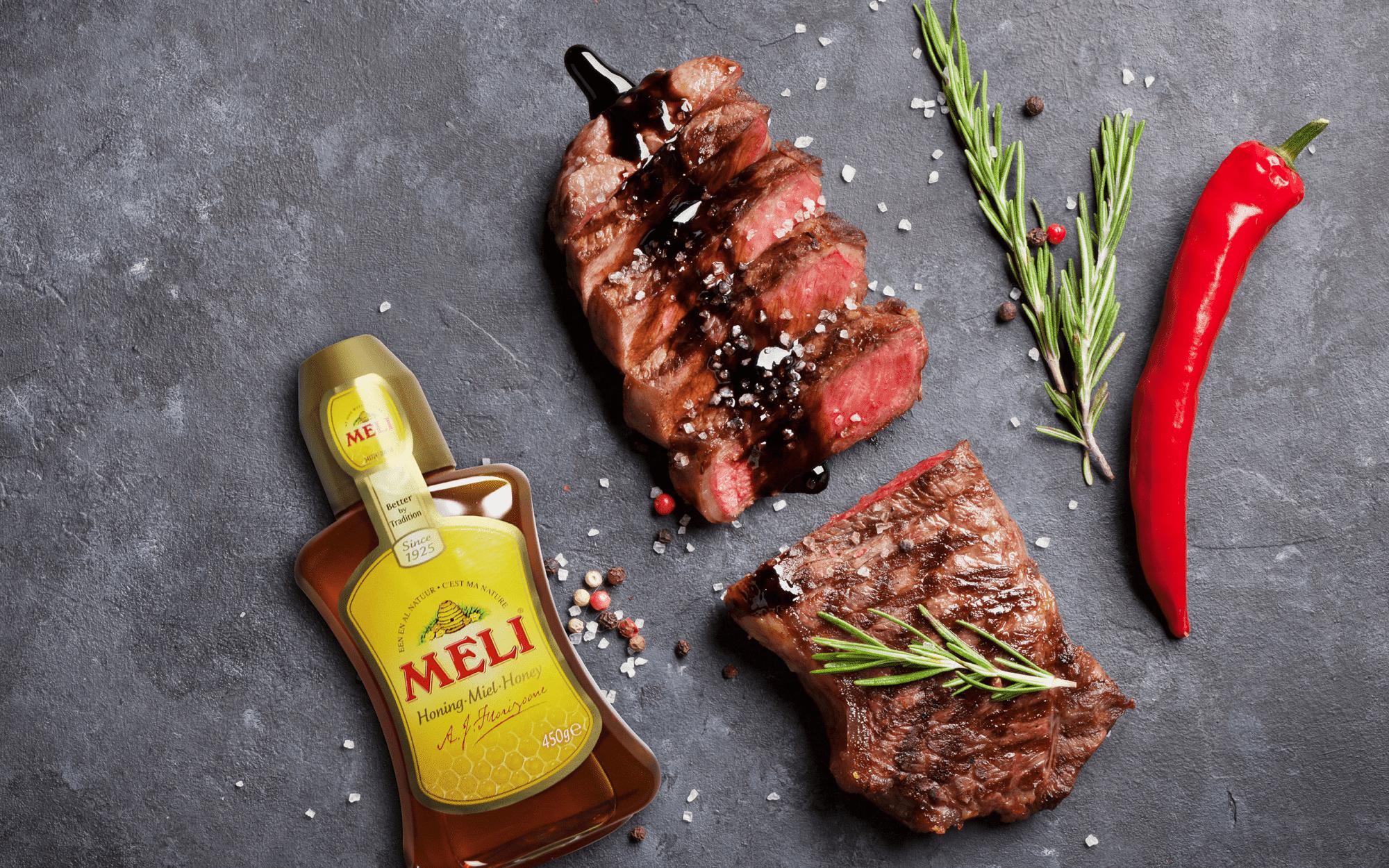 Steak à la sauce vinaigre balsamique & miel avec des haricots verts