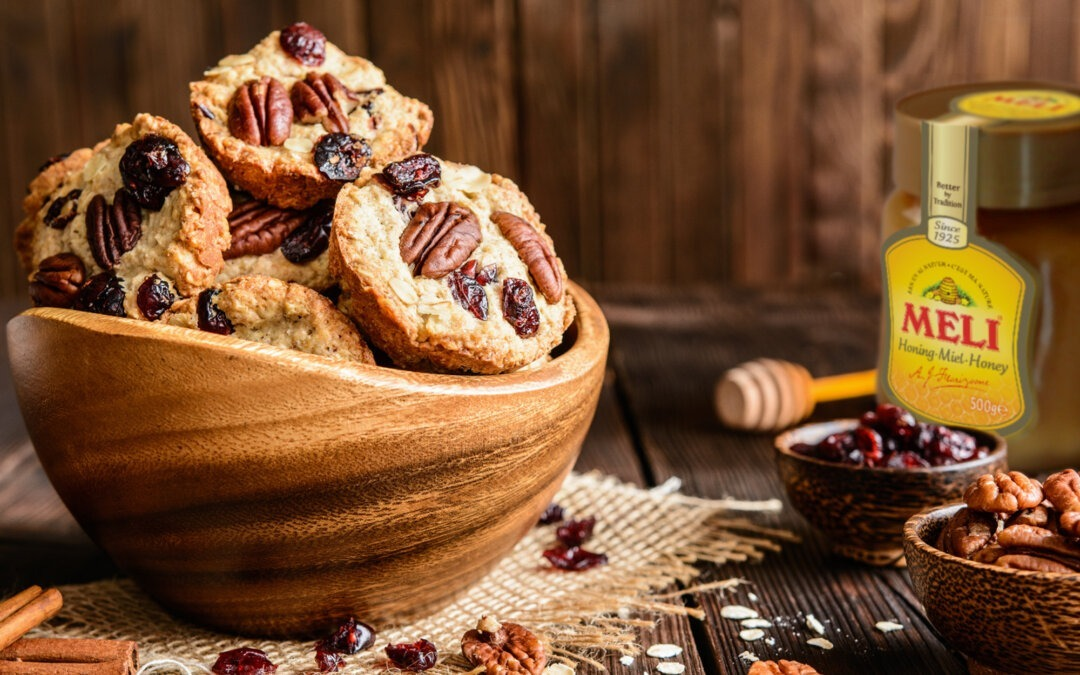 Biscuits originaux pour le petit-déjeuner : banane, céréale et miel