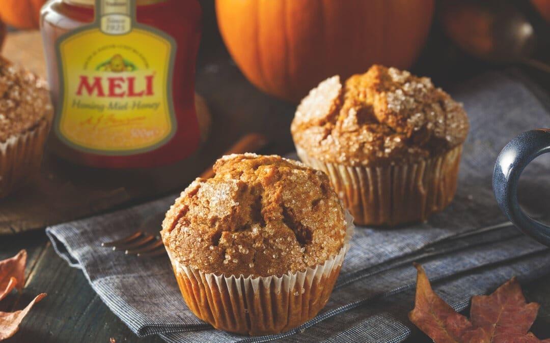 Pompoen-honing muffins