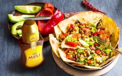 Summer Bowl Burrito met honey lime vinaigrette