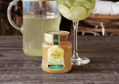 Ice tea van groene thee, munt, limoen en eucalyptushoning
