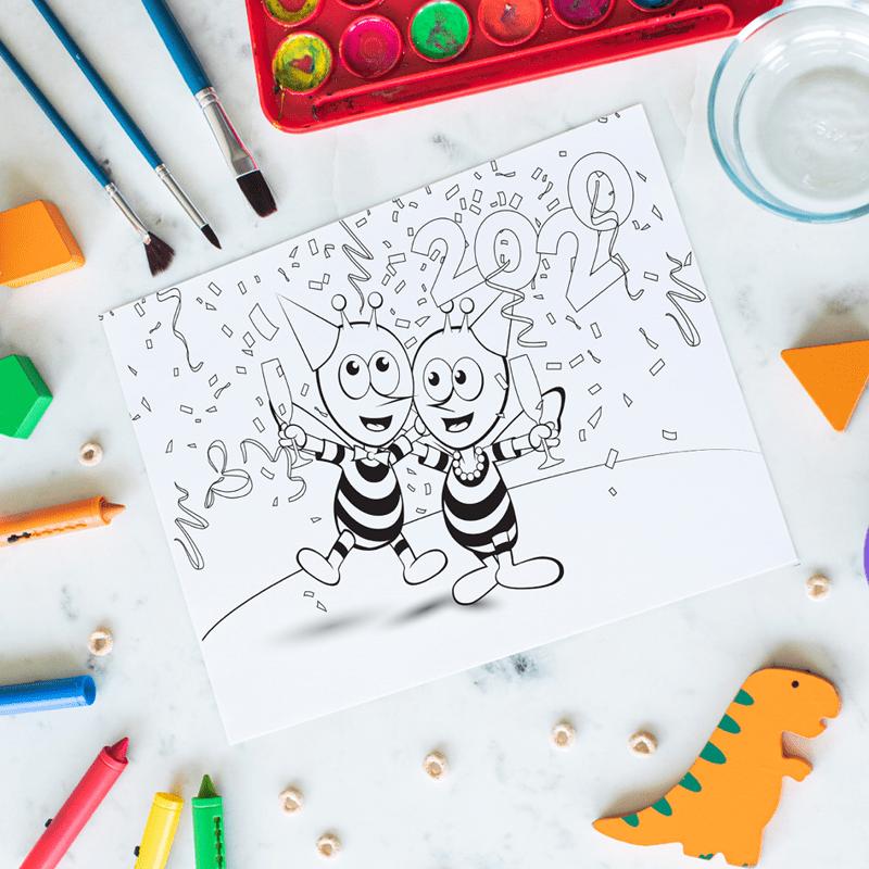 Viens faire la fête et colorier avec les abeilles de Meli !