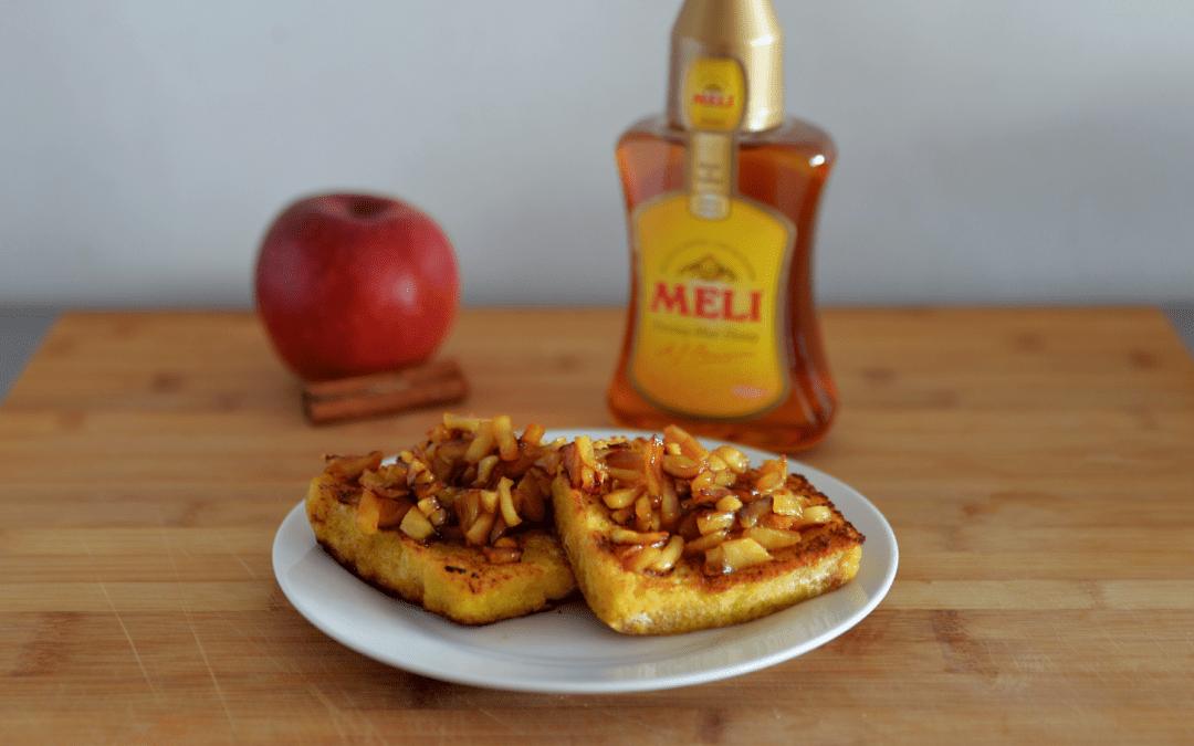 Verloren brood van brioche met gekarameliseerde appeltjes