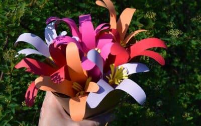 Un bouquet coloré en papier