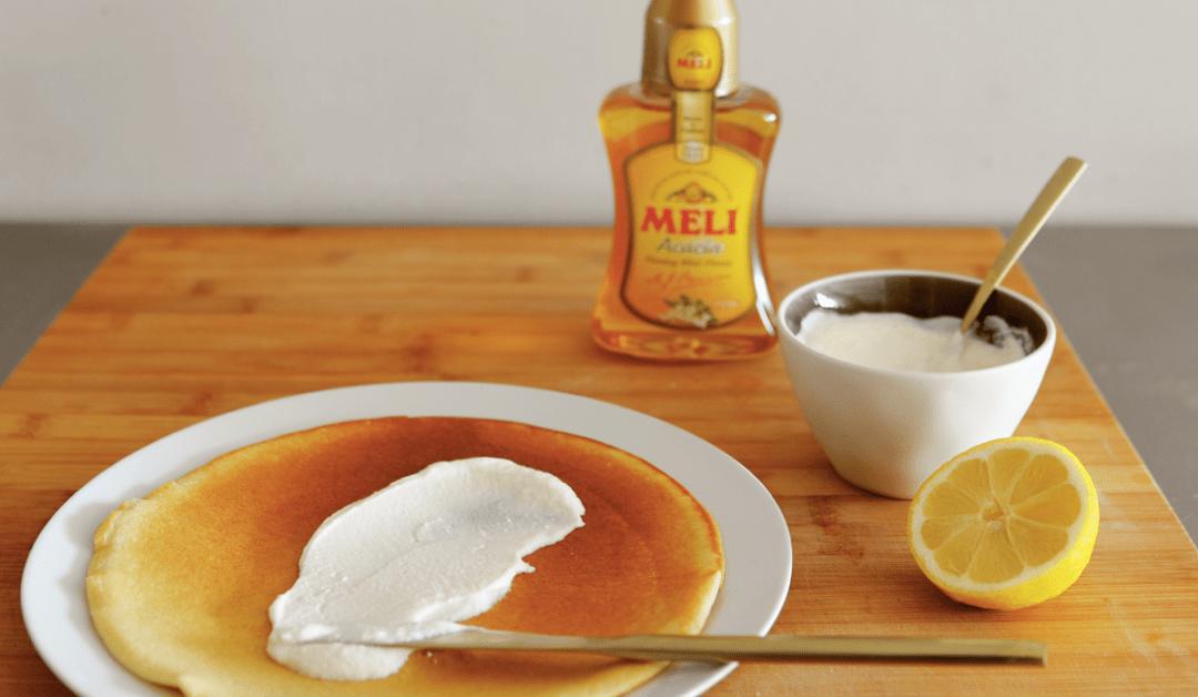 Crêpes de sarrasin nappées de ricotta, miel et citron