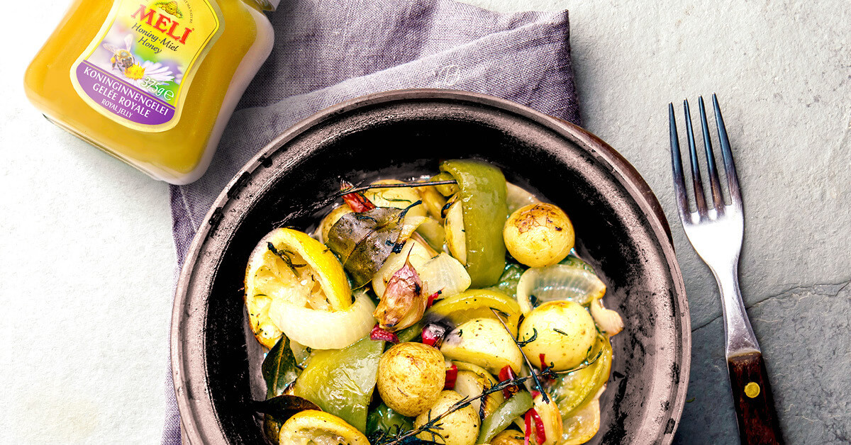 Groentestoofpotje met honing en citroen