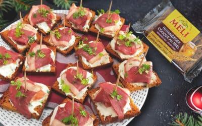 Appetizers met pompelmoes, ricotta & eendenborstfilet