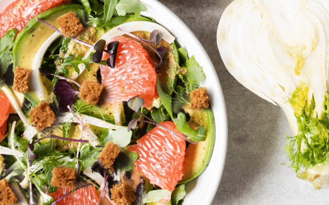 Salade BBQ fenouil, pamplemousse et vinaigrette au miel